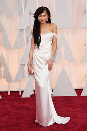 Zendaya Coleman cut a svelte silhouette in a draped white off-the-shoulder gown by Vivienne Westwood during the Oscars.