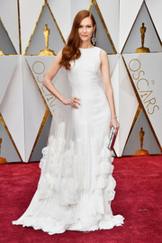 Darby Stanchfield attended the 2017 Oscars looking regal in a caped white gown by Georges Chakra.