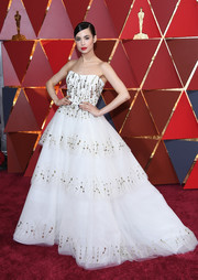 Sofia Carson was a vision in a strapless, beaded white ball gown by Monique Lhuillier at the 2017 Oscars.