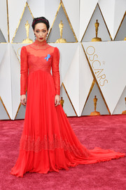 Ruth Negga chose a high-neck Valentino fishtail gown with lace inserts for her Oscars red carpet look.