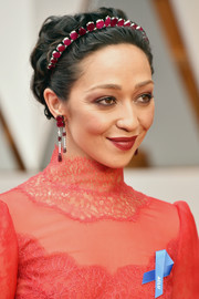 Ruth Negga paired her tiara with matching dangling ruby earrings.
