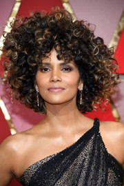 Halle Berry looked playfully glam with her bouncy afro at the 2017 Oscars.