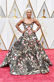 Cynthia Erivo wowed in a floral-embroidered spaghetti-strap ball gown by Paolo Sebastian at the 2017 Oscars.