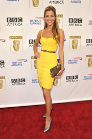 Tricia Helfer accessorized her dress with silver metallic stilettos, while attending the 8th Annual BAFTA/LA TV party.
