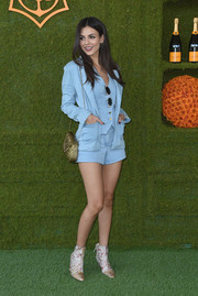 This pastel-blue Rachel Zoe three-piece set Victoria Justice wore to the Veuve Clicquot Polo Classic was a cool and relaxed way to suit up.