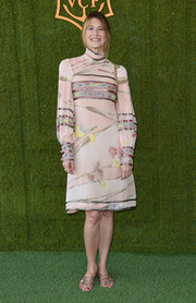 Laura Dern paired strappy flat sandals with a long-sleeve print dress for the Veuve Clicquot Polo Classic.