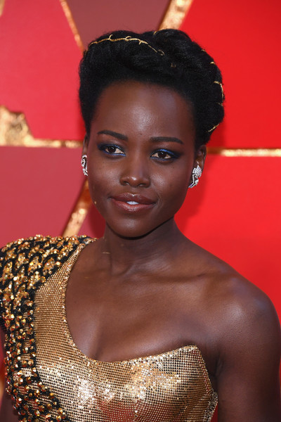 Lupita Nyong'o sported a braided updo at the 2018 Oscars.