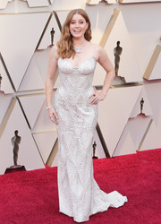 Amy Adams wowed in a textured strapless column dress by Atelier Versace at the 2019 Oscars.