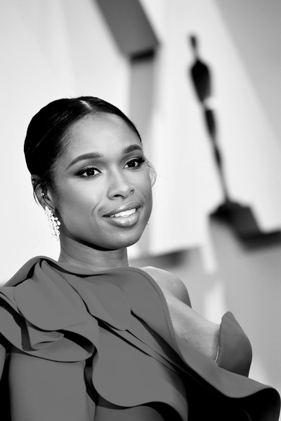 More Pics of Jennifer Hudson Classic Bun (1 of 22) - Jennifer Hudson Lookbook - StyleBistro [image,white,hair,face,black,photograph,facial expression,black-and-white,eyebrow,beauty,smile,arrivals,jennifer hudson,academy awards,editors note,hollywood,california,highland,annual academy awards]