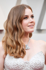Amy Adams wore her hair loose in a center-parted wavy style at the 2019 Oscars.