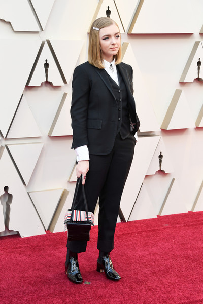 More Pics of Elsie Fisher Mid-Length Bob (7 of 10) - Elsie Fisher Lookbook - StyleBistro [red carpet,carpet,clothing,red,flooring,fashion,suit,footwear,formal wear,pantsuit,arrivals,elsie fisher,academy awards,hollywood,highland,california,annual academy awards]