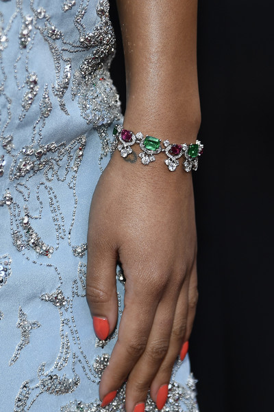 More Pics of Laura Harrier Gemstone Collar Necklace  (1 of 5) - Gemstone Collar Necklace  Lookbook - StyleBistro [red carpet,nail,body jewelry,jewellery,finger,fashion accessory,bracelet,hand,joint,nail care,wrist,laura harrier,academy awards,hollywood,jewe,california,highland,annual academy awards]