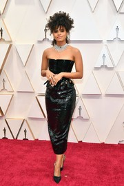 Zazie Beetz worked a strapless black sequined top by Thom Browne at the 2020 Oscars.