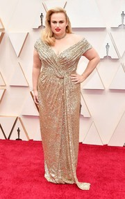 Rebel Wilson glittered in an off-the-shoulder gold sequined gown by Jason Wu at the 2020 Oscars.