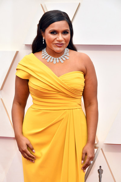 More Pics of Mindy Kaling Dangling Diamond Earrings (3 of 9) - Dangling Diamond Earrings Lookbook - StyleBistro [clothing,yellow,dress,fashion model,shoulder,fashion,beauty,cocktail dress,hairstyle,model,arrivals,mindy kaling,hollywood,highland,california,92nd annual academy awards,mindy kaling,oceans 8,dolby theatre,academy awards,television,writers guild of america award for television: comedy series,photograph,popsugar]