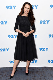 Andie MacDowell cut a classic silhouette in this studded LBD while visiting 92nd Street Y.
