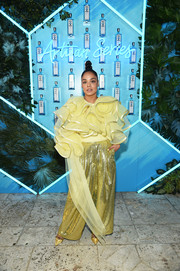Tessa Thompson looked ornate in a heavily ruffled yellow blouse by Marc Jacobs at the Bombay Sapphire Artisan Series Finale.