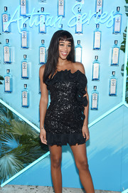 Laura Harrier looked flirty-chic in a strapless Dundas LBD with sequin and ruffle detailing at the Bombay Sapphire Artisan Series Finale.