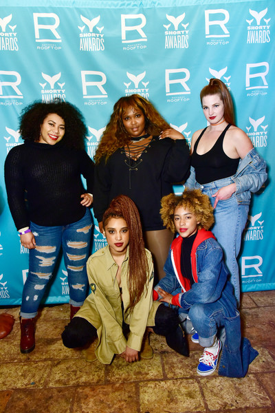 More Pics of Lizzo Leather Sneakers (2 of 8) - Athletic Shoes Lookbook - StyleBistro [social group,youth,fashion,fun,event,photography,guests,lizzo,c,new york city,refinery rooftop,party,9th annual shorty awards]
