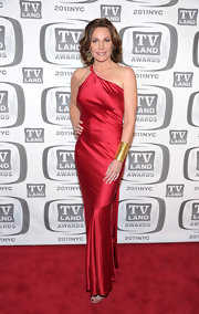 LuAnn de Lesseps struck a confident pose on the red carpet at the 9th Annual TV Land Awards in this slinky red satin gown.