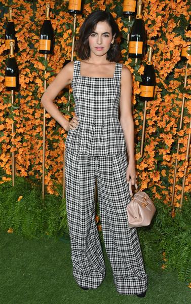 More Pics of Camilla Belle Pink Lipstick (1 of 25) - Camilla Belle Lookbook - StyleBistro [clothing,pattern,fashion,overall,dress,design,plaid,pantsuit,trousers,arrivals,camilla belle,los angeles,pacific palisades,california,will rogers state historic park,veuve clicquot polo classic]