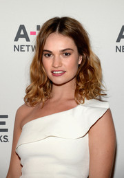 Lily James showed off a new hair color with her medium wavy cut at the Winter TCA Tour.