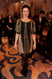 Amber channeled 20's glam in a beaded art deco cocktail dress at the Movies for Grownups Awards.