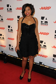 Taraji P. Henson dazzled on the red carpet in black satin platform pumps.