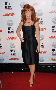Kathy Griffin added a pop of drama to her LBD with animal print peep-toe slingbacks.