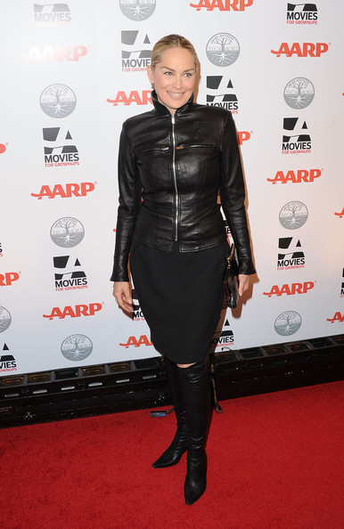 Sharon topped off her red carpet ensemble with black leather knee-high boots.