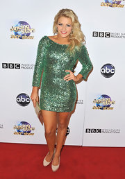 Witney Carson chose a sparkly green frock to show off her dancer's figure!