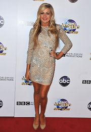 Lindsay Arnold sparkled in this nude and silver embellished long-sleeve frock.