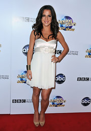 A pleated white mini dress with a satin belt topped off Kelly Monaco's red carpet look.