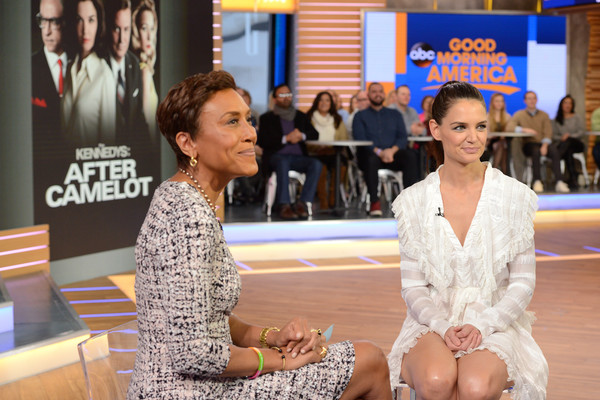 More Pics of Katie Holmes Cocktail Dress (1 of 10) - Dresses & Skirts Lookbook - StyleBistro [katie holmes,lorenzo bevilaqua,robin roberts,good morning america,photo,fashion,sitting,human,event,leg,performance,thigh,recreation,abc,getty images]