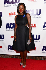 Viola Davis donned a pair of crystal-adorned peep-toes for some sparkle to her LBD at the Bill of Rights dinner.