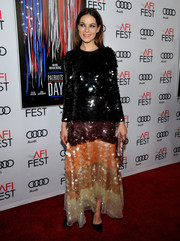 Michelle Monaghan looked totally party-ready in her multicolored Blumarine paillette dress at the AFI closing night screening of 'Patriot's Day.'