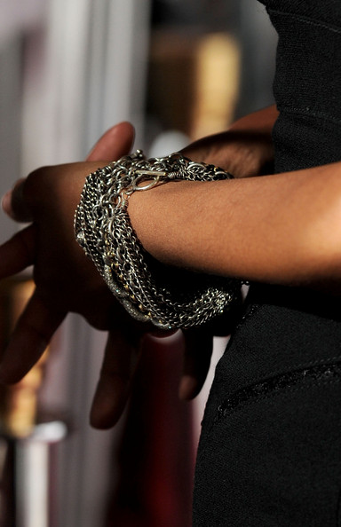 Actress Halle Berry attended the AFI Fest  wearing an oxidized sterling silver multi-chain and pave diamond bracelet.