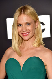 January Jones wore her hair in an asymmetrical, center-parted style at the Emmy afterparty.