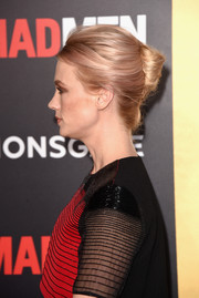 January Jones sported an edgy yet sophisticated French twist at the Black & Red Ball.