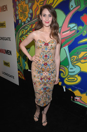 Alison Brie donned an elaborately embroidered strapless dress by Marchesa for the 'Mad Men' season 7 premiere.
