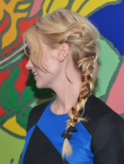January Jones looked very charming wearing this elaborate braid during the 'Mad Men' season 7 premiere.