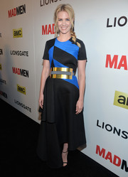 January Jones went for a modern vibe at the 'Mad Men' season 7 premiere in a blue and black Roksanda Ilincic dress with metal detail.