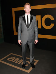 Neil Patrick Harris looked handsome in a retro inspired gray suit with black lapels.