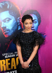 Ruth Negga arrived for the 'Preacher' season 2 premiere carrying a paillette-embellished clutch.