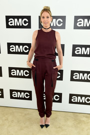 Jenna Elfman kept it relaxed in a burgundy tank top at the AMC Summit.