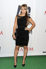 Evalyn looked striking in a patterned LBD at the Maxim party.