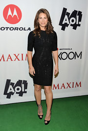 Jillian Michaels went for a classic look with an LBD and black peep-toe pumps at the AOL at the Maxim party.