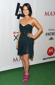 Olivia Munn added wow factor to her green and black geometric print dress with suede fuchsia Madame Butterfly booties.