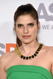 Lake Bell dressed up her bare neckline with a stunning gemstone statement necklace by Eddie Borgo.