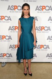 For her Bergh Ball look, Hilary Swank went the demure and ladylike route in a blue Christian Siriano cocktail dress with drapey peplum detailing.
